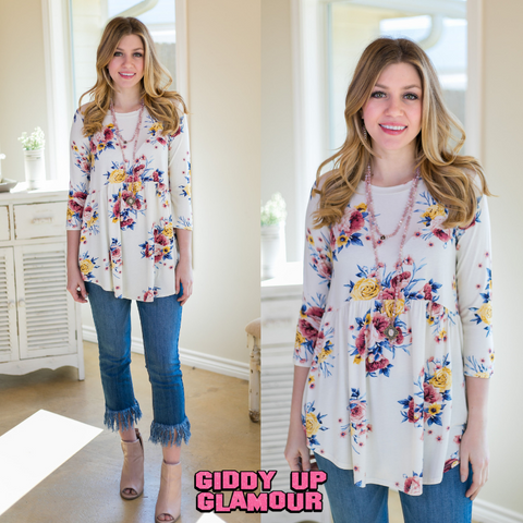 Ring Around The Roses Floral 3/4 Sleeve Top in Ivory
