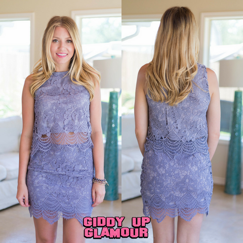 I'd Be Jealous Too Scalloped Lace Skirt in Dusty Lilac