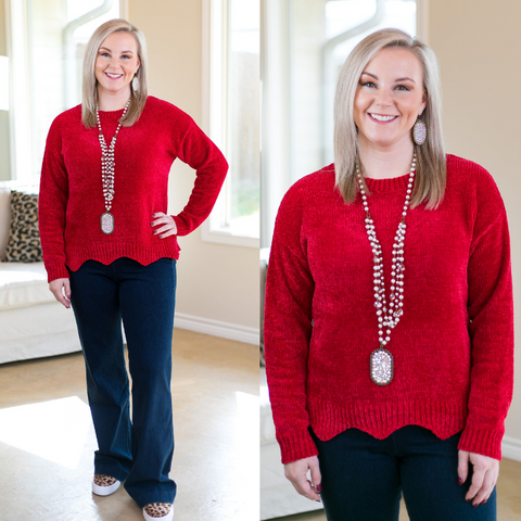 Such A Softie Scalloped Knit Chenille Sweater in Red