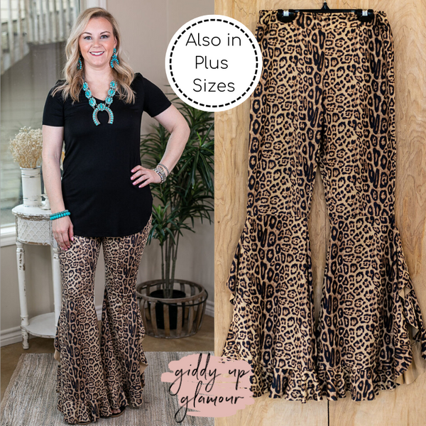 Western Flare Bell Bottom Pants in Leopard