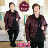New York Minute Faux Leather Moto Jacket in Maroon