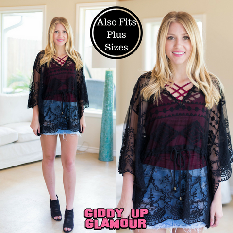 Feel The Sun Crochet Lace Top in Black