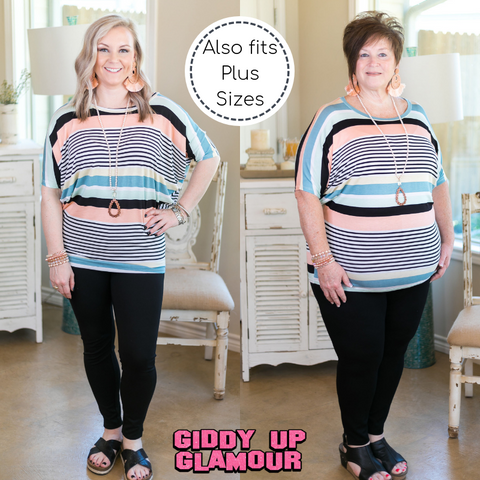 Between Laughs Multi Striped Short Sleeve Dolman Top in Mint