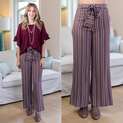 Make Your Mind Up Striped Trouser Pants in Mocha