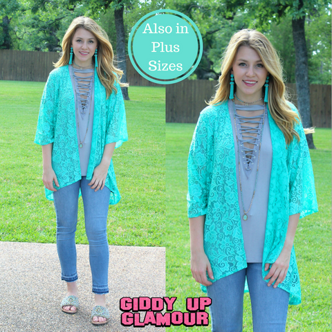 74c2be2995b3c Only In Your Dreams Lace Kimono in Mint ...