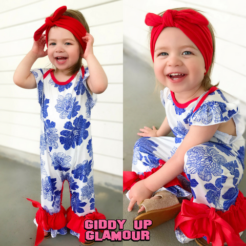 Children's Blue Floral Romper with Red Trim