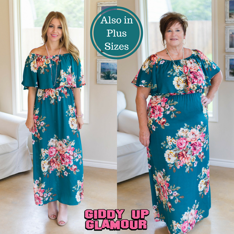 Favorite Darling Floral Maxi Dress in Teal