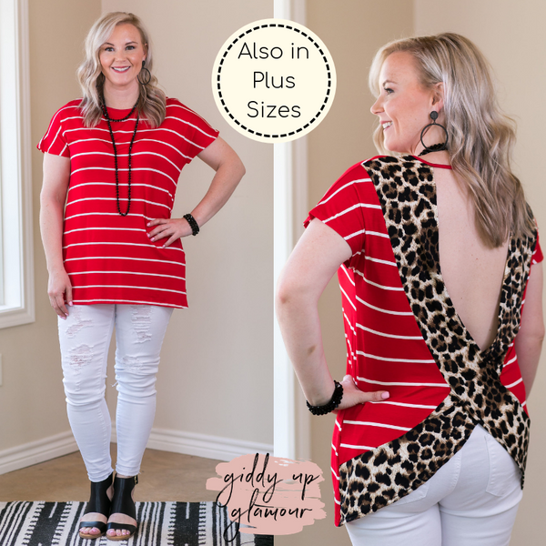 Got Your Back Stripe Short Sleeve Top with Leopard Print Open Back trendy boutique missy plus size curvy girl fashions USA 4th of July Patriotic Outfit leopard cheetah red
