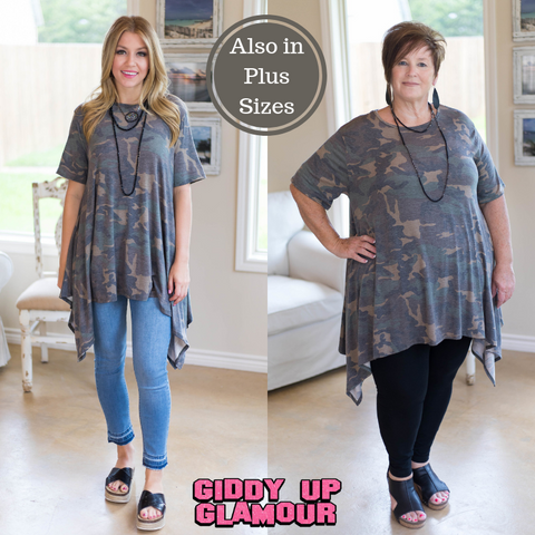 Not A Doubt Asymmetrical Hemline Tunic in Camouflage