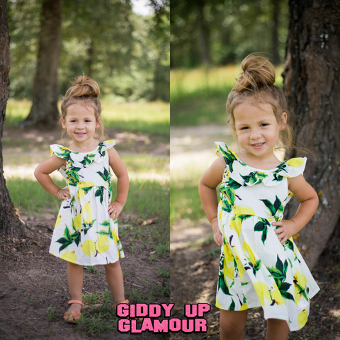 Children's White Lemon Printed Ruffled Dress