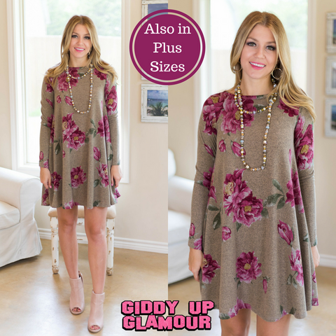 Another Chance Floral Tunic Dress in Mocha