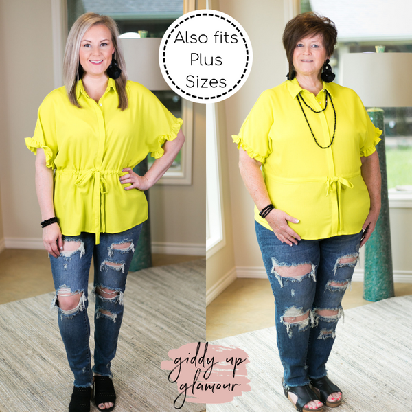 Double Take Button Down Top with Drawstring Waist and Ruffled Sleeves in Lime Green