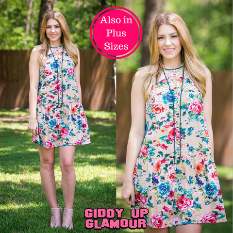 The Feeling of Spring Floral Dress in Tan