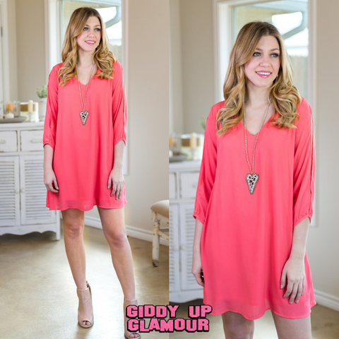 The Whole Package Solid Dress in Coral