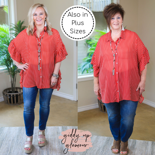 Only For Tonight Sheer Striped Button Up Blouse with Ruffled Sleeves in Red Chili