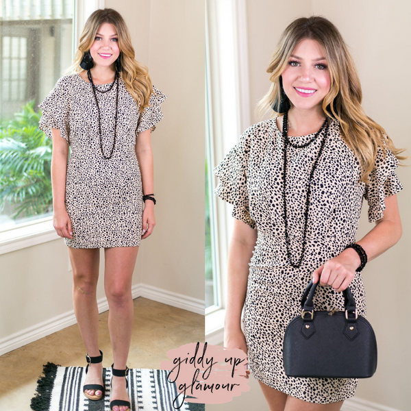 Graced With Glam Ruffle Sleeve Dress in Leopard