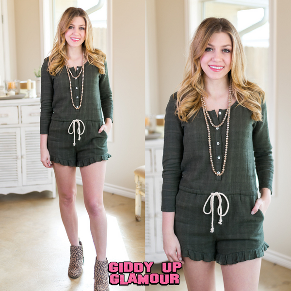 Some Kind of Wonderful Olive Drawstring Romper