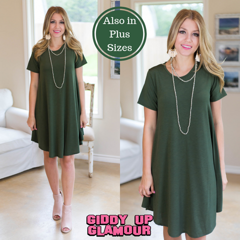 Simplicity is Key Short Sleeve Tee Shirt Dress in Olive Green
