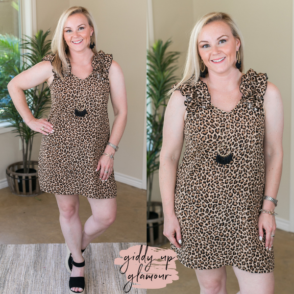 Beck and Call Ruffle Shoulder V Neckline Dress in Leopard