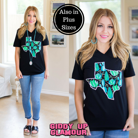 Texas Succulent & Cactus Short Sleeve Tee Shirt in Black