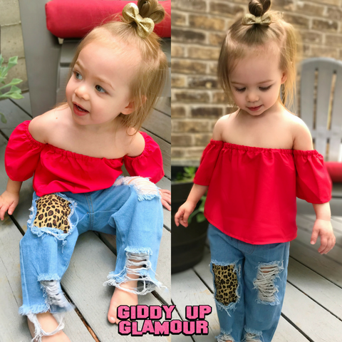 Children's Be Curious Off Shoulder Top in Red