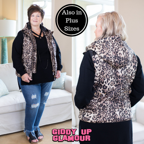 Change of Pace Hooded Puffer Vest in Leopard