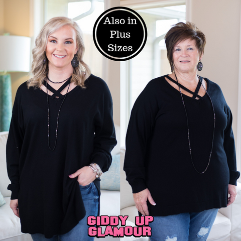 City Grid Sweater with Cross Neckline in Black