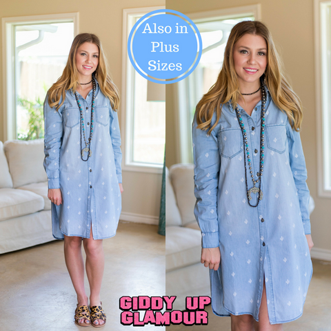 Right Along With You Light Wash Denim Button Down Dress