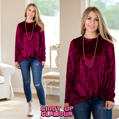 Crush On You Velvet Long Sleeve Tunic Top with Side Knot in Maroon