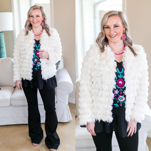 All Shook Up Fuzzy Faux Fur Jacket in Ivory