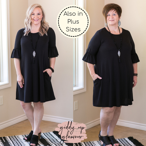 Pretty Please solid black Bell Sleeve Dress dress with pockets ruffle vacation dress Mexico wedding attendant
