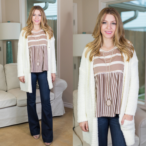 Bundle of Love Fleece Knit Sweater in Cream Ivory
