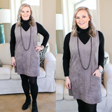 Not Worried Corduroy Dress with Pockets in Grey