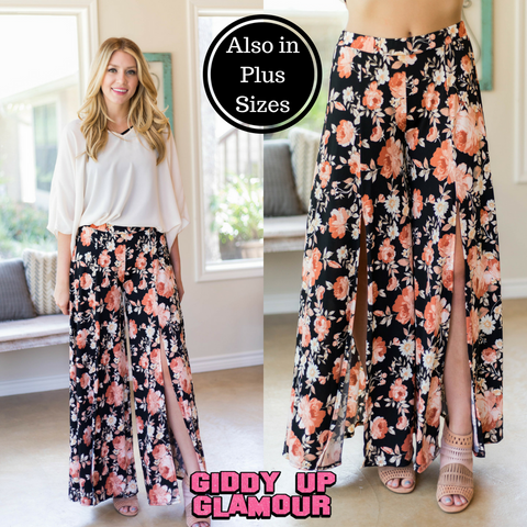 Trips With You Floral Split Pants in Black
