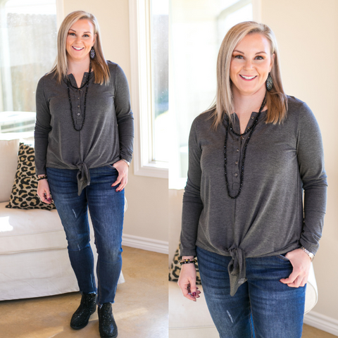 Enchanted By You Tie Top in Charcoal Grey