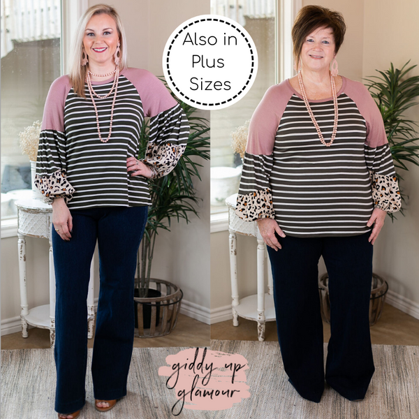 No Looking Back Striped Top with Multi Print Puff Sleeves in Olive Green and Pink