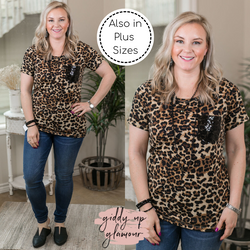Let 'Em Shine Short Sleeve Sequin Pocket Tee in Leopard black sequin cheetah top short sleeve comfy