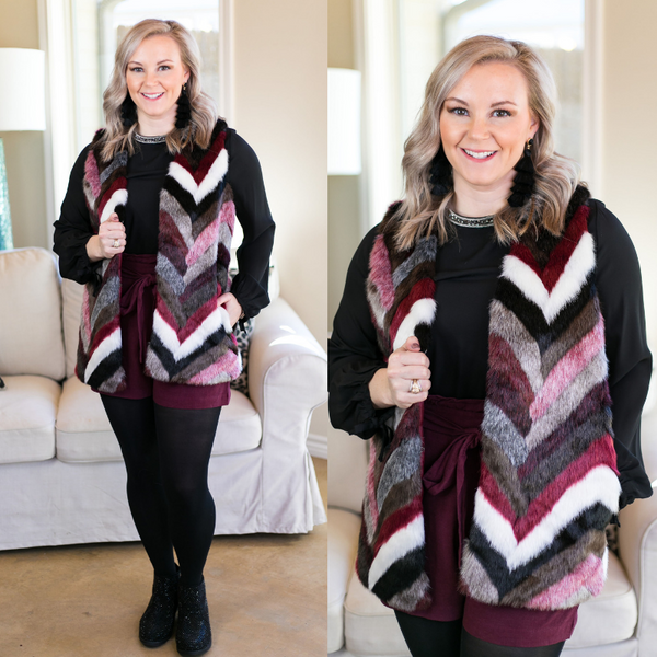 All I Could Want Multicolored Faux Fur Vest in Maroon
