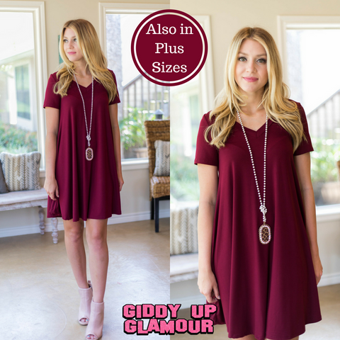 Cover The Basics Short Sleeve Tee Shirt Dress in Maroon