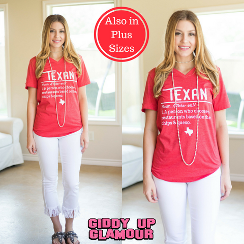 Texan Definition Short Sleeve Tee Shirt in Red