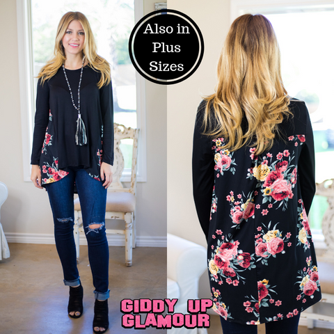 Feelings For You Long Sleeve Blouse with Floral Print Back in Black