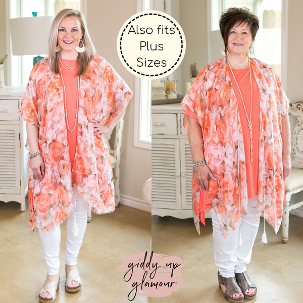 One Size Colors of the Garden Women's trendy plus size boutique clothing affordable floral print kimono duster sheer cover up coral