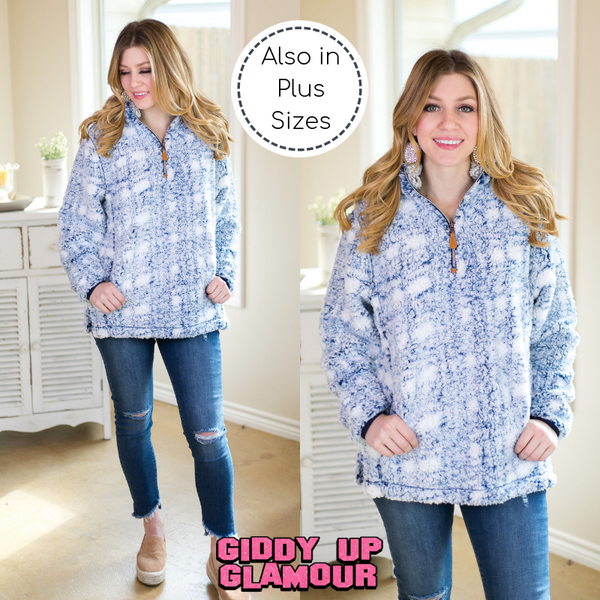 Cuddle Up Plaid Sherpa Pullover in Navy Blue