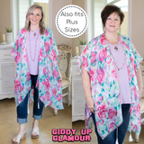 Colors of the Garden Floral Print Kimono in Pink
