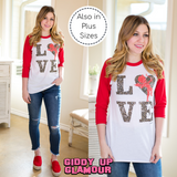 Cheetah Love Cupid Baseball Tee in Red