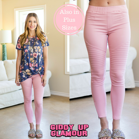 Downright Darling Moto Jeggings in Pink