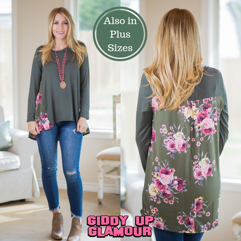 Feelings For You Long Sleeve Blouse with Floral Print Back in Olive Green