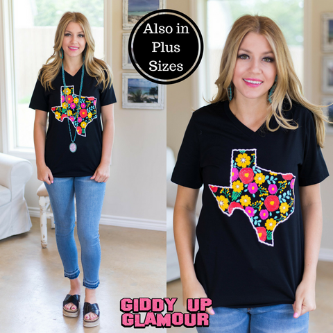 Fiesta Floral Texas Short Sleeve Tee Shirt in Black