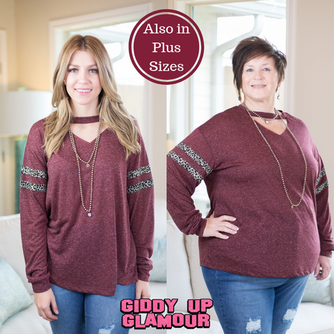 Focus On You Long Sleeve Tee with Leopard Sleeve Stripes in Maroon