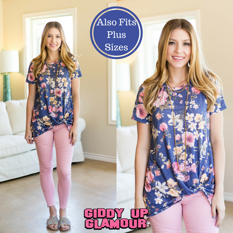 Let This Go Floral Short Sleeve Top with Side Knot in Blue
